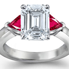 Trillion Cut Ruby Emerald Cut Diamond High Luster Ring