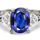 White Blue Sapphire Diamond Ring