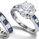14k Solid White Gold with Natural Blue Sapphire and Diamond Ring STUNNING!