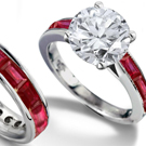 Ruby Engagement Ring with Diamonds