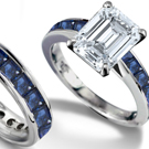 1.19ctw Syn Sapphire & Genuine Diamond Accents Ring - 10k White Gold Polished