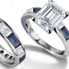 Diamond & Sapphire Ring in Solid 14K White Gold sz 7.5