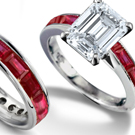 Emerald Cut Diamond and Baguette Ruby Ring, 3 Stone Ruby Ring
