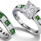Gold Princess Cut Diamond & Princess Cut Emerald Ring