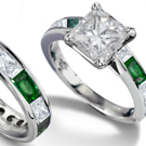 14k Gold & Platinum Baguette Diamond & Baguette Emerald Rings