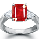 Shiny Polished Pear Cut Diamond and Emerald Cut Ruby Ring