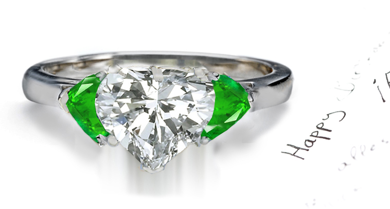 HEART DIAMOND AND HEART EMERALD ENGAGEMENT RINGS
