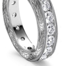 Three-stone diamond rings - Half-hoop, three, four or five stones in plain skeleton points