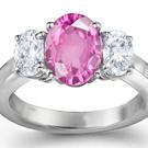 Genuine Pink Sapphire Diamond Rings