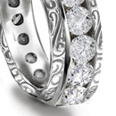 solitaire relieved by two or several diamonds mounted in English, European, East Indian