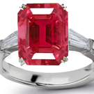 3 Stone Precision Cut Diamond Ruby Rings Picture