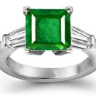 Platinum & 14k Gold Square Emerald & Baguette Diamond Ring