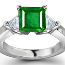 14k Yellow & White Gold Square Emerald & Trillion Diamond Ring