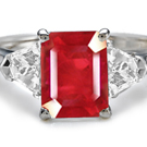 Tapered Cut Diamond Emerald Cut Ruby in 14k Gold