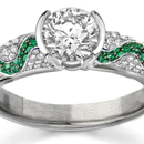 Shiny Polished Pear Cut Diamond and Emerald Cut Emerald Bar Set Ring