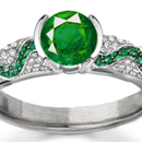 Round Diamond Emerald Cut Emerald Shiny Ring