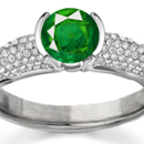 Rich Green Columbian Emerald Ring with Real Diamonds