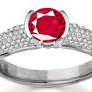 Shop for Ruby Rings: A dazzling Asscher is the center stone of an Edwardian-style Neil Lane ring
