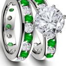 Baken Diamond Ring with Genuine Emeralds