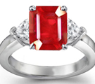 Heart Diamond and Emerald Cut Ruby Ring Shiny Polish