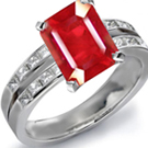 18k White Gold Ruby Anniversary Ring in UK Ring Size R 1/2