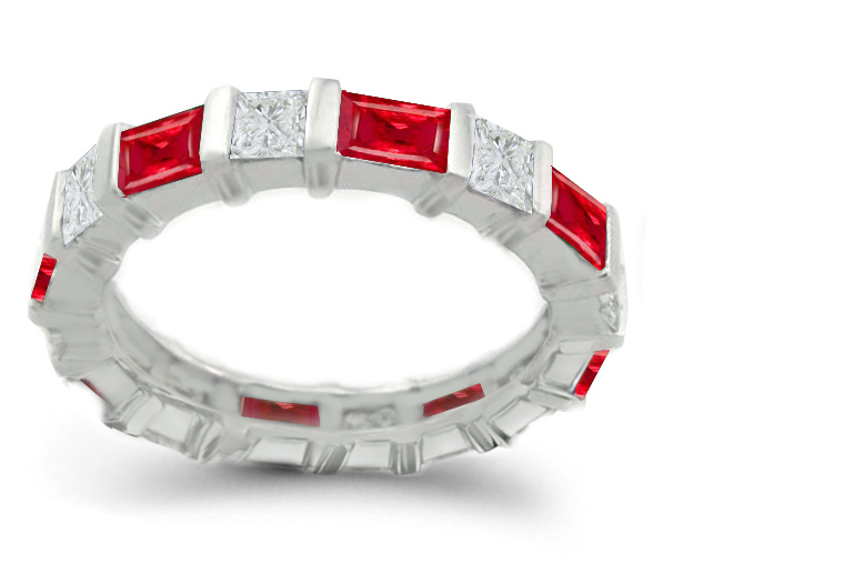 band bands eternity baguette platinum diamond