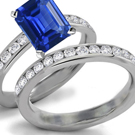 Art Deco .40ctw Natural Blue Sapphire & Diamond 14k White Gold Floral Ring 2.4g