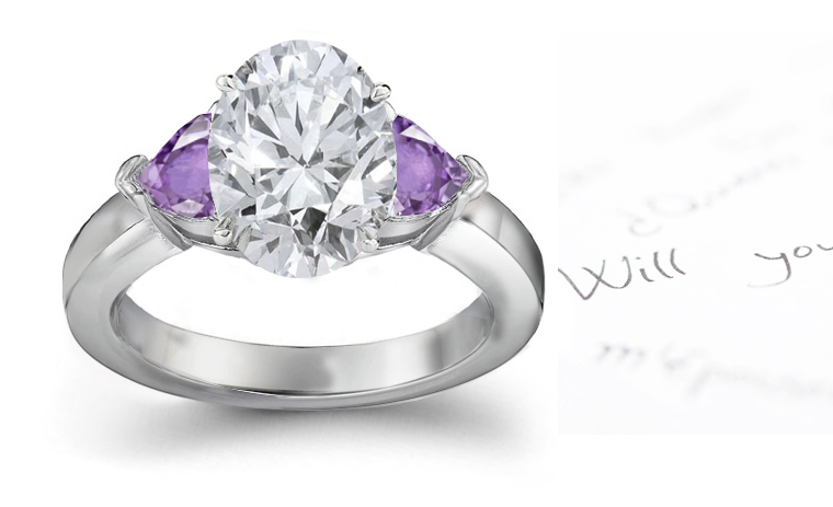 Purple Sapphire Hearts and Diamond Oval Engagement Rings