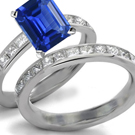 Satin Polished Emerald Cut Sapphire and Diamond Ring Renᅮtar Collection