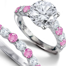 A pink and white diamond ring.
