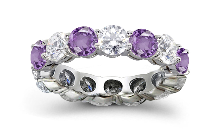 jared purple diamond ring 1 2 ct tw round cut 14k white gold - Purple Wedding Ring