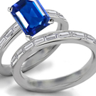 Ladies18 Kt Gold Ring with Diamonds and Sapphire