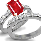 Trillion Diamond and Princess Cut Ruby Engagement Ring in Ring Size 5