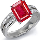 Diamond and Ruby Ring in French Ring Size 52 3/4
