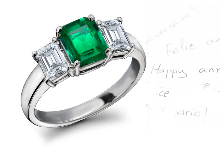 Ring emerald diamond
