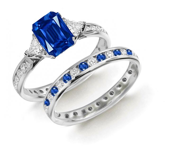Designer Colored Gemstone Engagement Rings Wedding Sets