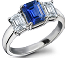 22k Gold Emerald Cut Sapphire Engagement Ring in German Ring Size 19