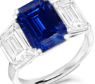 10K White Gold .35ct Blue Sapphire & Diamond Ring 1.5G Size 7