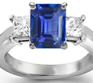 Princess Cut Diamond and Emerald Cut Sapphire Engagement Ring in Ring Size 8