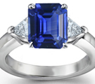 Emerald Cut Sapphire & Trillion Diamond Ring in Platinum Ring Size 6