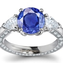 Violetish Blue Hue and Medium Tone Mogok, Myanmar Sapphire Ring with Diamonds