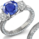 Amazing 2.35ct Deep Royal Sapphire Ring with Diamonds - 18K White Gold