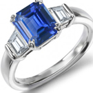 Solid 14Kt White Gold Gold Diamond Oval Sapphire Wedding Ring CT394