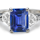 10K WG White Gold Blue Sapphire Channel Set Diamond Ring Womens Sz 6.5 3.8g A29