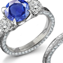 14k WHITE GOLD SAPPHIRE DIAMOND & Diamond Accents FILIGREE RING - HALLMARKED