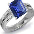 MICROPAVE DIAMOND SAPPHIRE WHITE GOLD RING