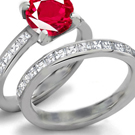 14k Yellow Gold Prong Setting Ruby Ring with Diamonds