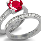 14k Rose Gold Bar Setting Ruby Ring with Diamonds