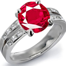 18k Red Gold Bezel Setting Genuine Ruby Ring with Diamonds