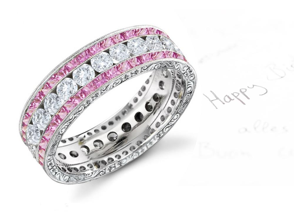 Pink Diamond Wedding Ring Gypsy Set Pink Diamond Huggies With White